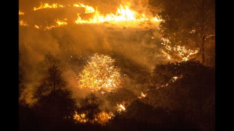The Rocky Fire burns near Clearlake on August 2.