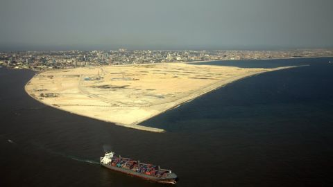 Reclaiming the land that Eko Atlantic is founded on will involve moving an estimated 140 million tons of sand. Together with the 3.5km sea defense wall, the development is also designed to slow coastal erosion in Lagos.