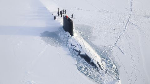 The Los Angeles-class attack submarine USS Hampton surfaces through Arctic ice in March 2014. The Los Angeles-class is the biggest in the Navy's sub fleet, with a few dozen in commission. These subs displace 6,900 tons and are 36