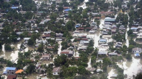 An aerial view shows flooding throughout the town of Kalay, Myanmar's Sagaing region, on August 3. Heavy monsoon rains in the past month have left at least 47 dead with more than 200,000 displaced.