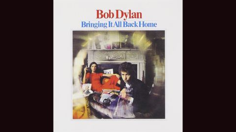 """<strong>""""Bringing It All Back Home,"""" Bob Dylan</strong>: Dylan's album covers have ranged from great (""""Freewheelin',"""" """"Nashville Skyline"""") to abysmal (""""Empire Burlesque""""). But perhaps the most Dylan-esque is this 1965 entry, photographed by Daniel Kramer. A fallout shelter sign? A woman in red (manager Albert Grossman's wife, Sally)? That gray cat? Whatever Dylan's trying to say, this cover encapsulates it ... somehow."""