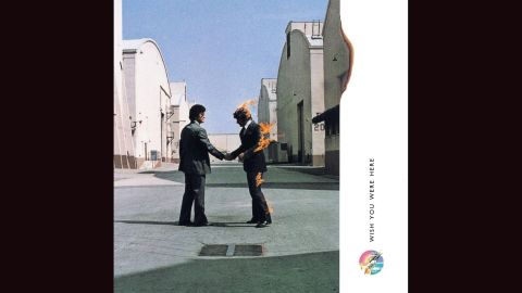 """<strong>""""Wish You Were Here,"""" Pink Floyd</strong>: No gallery of album covers would be complete without at least one representative from the design team of Hipgnosis, known for its surreal photographic imagery. Hipgnosis' works include Led Zeppelin's """"Houses of the Holy,"""" 10cc's """"Deceptive Bends"""" and Peter Gabriel's first three solo albums. """"Here,"""" Pink Floyd's 1975 record, is particularly arresting: two men shaking hands, one of whom is on fire, with the flames licking the frame of the photograph."""