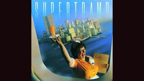 """<strong>""""Breakfast in America,"""" Supertramp</strong>: The clever cover of Supertramp's 1979 bestseller is Manhattan expressed through diner furnishings: cutlery, coffee cups and boxes. (And oh, yes: a waitress named """"Libby""""<a href=""""http://101mobility.com/blog/wp-content/uploads/2013/04/statue_of_liberty.jpg"""" target=""""_blank"""" target=""""_blank""""> looking distinctly statue-esque.</a>) Mike Doud did the design."""