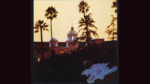 """<strong>""""Hotel California,"""" Eagles</strong>: The Southern California band's 1976 magnum opus was a world-weary look at El Lay culture, starting with the cover: a photo of the Beverly Hills Hotel by David Alexander, with tweaks by design great John Kosh (ELO's """"A New World Record,"""" REO Speedwagon's """"Hi Infidelity""""). You can almost smell the colitas."""