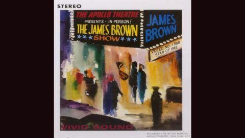 """<strong>""""Live at the Apollo, 1962,"""" James Brown:</strong> James Brown in the studio was thrilling, but James Brown on stage was electrifying. The impressionistic cover of his 1963 album, with vibrant audience members milling outside a marquee, was done by Dan Quest."""