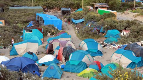 The camp sprawls over about 40 acres of sand dunes once used for landfill, with different nationalities in different sections.