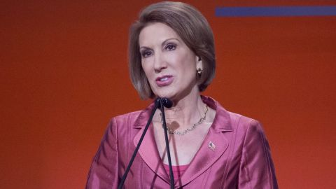 Republican presidential candidate Carly Fiorina speaks during a pre-debate forum at the Quicken Loans Arena, Thursday, Aug. 6, 2015, in Cleveland. Seven of the candidates have not qualified for the primetime debate. (AP Photo/John Minchillo)