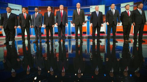 The race to become the next Republican presidential nominee continues as the highest polling candidates debate in Cleveland, Ohio, on Thursday, August 6. From left, Chris Christie, Marco Rubio, Ben Carson, Scott Walker, Donald Trump, Jeb Bush, Mike Huckabee, Ted Cruz, Rand Paul and John Kasich.