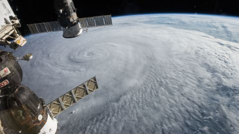 The crew of the International Space Station spotted Typhoon Soudeloron on Wednesday, August 5, 2015, as the storm moved through the western Pacific. You can see two Russian spacecraft hanging below the space station: The Soyuz TMA-17M (left) and the Progress 60 (right) cargo craft. Soudelor became the strongest storm on the planet so far this year, with peak winds at 180 mph (290 kph), according to the Joint Typhoon Warning Center.