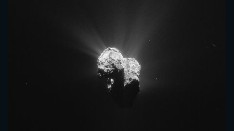 This image of Comet  67P/Churyumov-Gerasimenko was taken by Rosetta on July 8, 2015 as the spacecraft and comet headed toward their closest approach to the sun. Rosetta was about 125 miles (201 kilometers) from the comet when it took this image.