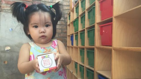 Born in 2014, Meng Song was transferred from the government funded orphanage in Shandong province; she can't eat anything that contain protein.