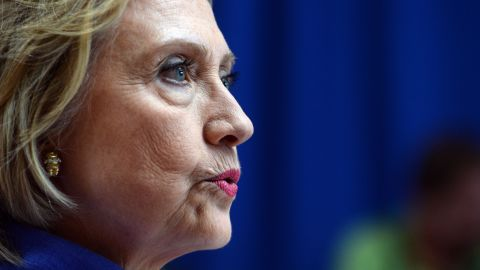 Democratic presidential candidate Hillary Clinton takes questions from reporters following a town hall meeting at Exeter High School August 10, 2015 in Exeter, New Hampshire.