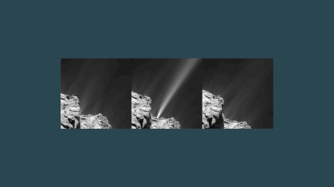 """The Rosetta spacecraft captured this <a href=""""http://www.esa.int/Our_Activities/Space_Science/Rosetta/Comet_s_firework_display_ahead_of_perihelion"""" target=""""_blank"""" target=""""_blank"""">image of a jet of white debris</a> spraying from Comet 67P/Churyumov--Gerasimenko on July 29, 2015. Mission scientists said this was the brightest jet seen to date in the mission. The debris is <a href=""""https://solarsystem.nasa.gov/planets/profile.cfm?Object=Comets&Display=OverviewLong"""" target=""""_blank"""" target=""""_blank"""">mostly of ice</a> coated with dark organic material."""