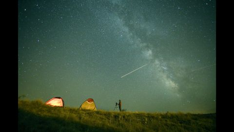 Perseid meteors flash across the sky in Van, Turkey, on Wednesday, August 12.