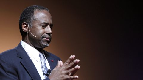 DETROIT, MI - MAY 4:  Republican Dr. Ben Carson, a retired pediatric neurosurgeon, speaks as he officially announces his candidacy for President of the United States at the Music Hall Center for the Performing Arts May 4, 2015 in Detroit, Michigan. Carson was scheduled to travel today to Iowa, but changed his plans when his mother became critically ill. He now will be traveling to Dallas instead to be with his mother Sonya. (Photo by Bill Pugliano/Getty Images)