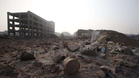 Scattered debris is seen August 15 at the site of the explosions.
