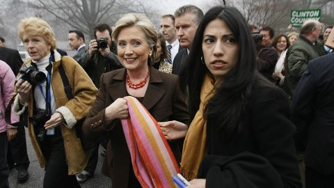Abedin (right) accompanies then-Democratic presidential hopeful Sen. Hillary Clinton (D-New York) after Clinton voted in the Democratic primary election on February 5, 2008 in Chappaqua, New York.