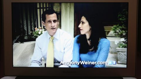 In this photo illustration, Weiner (left) appears with Abedin in a YouTube video announcing he will enter the New York City mayoral race on May 22, 2013. Weiner resigned from Congress in 2011 after admitting to tweeting lewd photos of himself and engaging in inappropriate online relationships with other women.