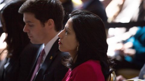 Abedin watches as Democratic presidential hopeful Hillary Clinton speaks during the David N. Dinkins Leadership and Public Policy Forum at Columbia University on April 29 in New York City.