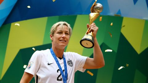 """American soccer legend Abby Wambach's sexuality was an <a href=""""http://www.outsports.com/2015/5/26/8659211/abby-wambach-lesbian-womens-world-cup-canada"""" target=""""_blank"""" target=""""_blank"""">open secret</a> for years before she married fellow soccer player Sarah Huffman in 2013."""