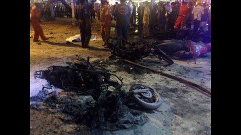 Destroyed motorcycles lie among debris after a blast near a popular Hindu shrine in Bangkok on August 17.