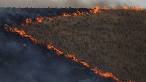 A burn operation is seen during the Jerusalem Fire, near Lower Lake, California, on Friday, August 11.