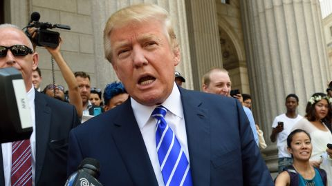 Trump exits New York Supreme Court after jury duty on August 17.