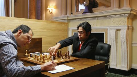 Chess Grandmasters Hikaru Nakamura (R) plays Rustam Kasimdzhanov in the World Chess London Grand Prix. Nakamura is currently the world No. 3 and became a chess grandmaster at the age of 15.