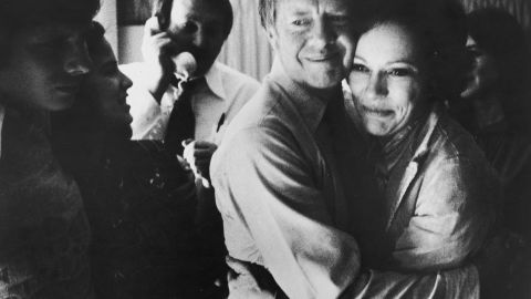 Carter embraces his wife Rosalynn after receiving the final news of his victory in the national general election, November 2, 1976.