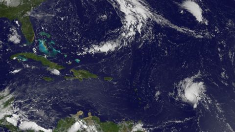Hurricane Danny can be seen spinning in the Atlantic on August 22, 2015, in this satellite image from the NASA-NOAA GOES Project.