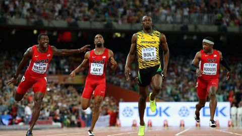 Bolt of Jamaica won in the Men's 100m final at the World Athletics Championships Beijing 2015 Sunday with a time of 9.79 seconds.