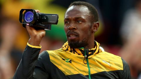 The best home video ever? Bolt records the medal ceremony during which he's given the gold he won in the men's 100 meter at the 2015 World Championships in Beijing.