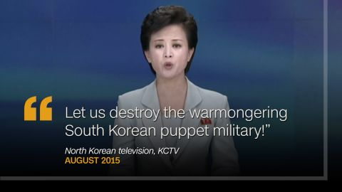 """<strong>August 2015: </strong>On August 23, as North Korean negotiators were meeting with their South Korean counterparts over current tensions, a KCTV presenter appeared on air repeating North Korea's ambitions to """"destroy the warmongering South Korean puppet military."""""""