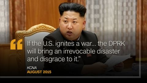 """<strong>August 2015:</strong> As forces from the U.S. and South Korea took part in joint military drills. North Korea's state media referred to the exercises, which started on August 17, as """"madcap"""" and issued a stern warning to America: """"If the U.S. ignites a war in the end, far from drawing a lesson taught by its bitter defeat in the history, the DPRK will bring an irrevocable disaster and disgrace to it."""""""