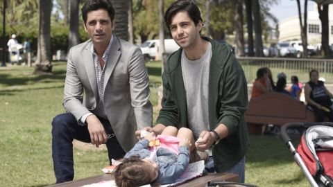 """John Stamos stars as a restaurant owner who discovers he has a son, who is played by Josh Peck, in """"Grandfathered"""" on Fox."""