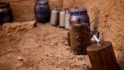 Explosives are seen in the Temple of Baalshamin in one of the undated photos that were released Tuesday, August 25, on a social media site used by ISIS militants.