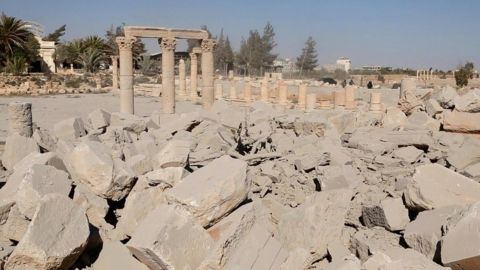 """There was uncertainty -- not unusual amid the chaos of the Syrian conflict -- over when exactly the damage was done to the temple, which dates from the first century. <a href=""""http://www.cnn.com/2015/05/15/middleeast/gallery/palmyra-ruins-syria/index.html"""" target=""""_blank"""">See more photos from the ruins of Palmyra</a>"""