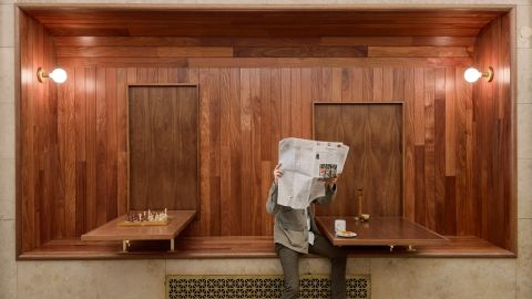 """The Tribeca bakery is housed in an unconventional spot within an office building lobby. Brooklyn-based design studio Workstead fit the modern bakery into what was previously a long-vacant entryway that had been sealed up after the building's management reoriented its lobby. <br /><br />Design byWorkstead, Photos byMatthew Williams from <a href=""""http://shop.gestalten.com/out-again.html"""" target=""""_blank"""" target=""""_blank"""">Let's Go Out Again</a>, Copyright Gestalten 2015"""
