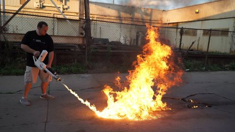 Chris Byars raised nearly four times his goal to make flamethrowers on a crowdfunding site.