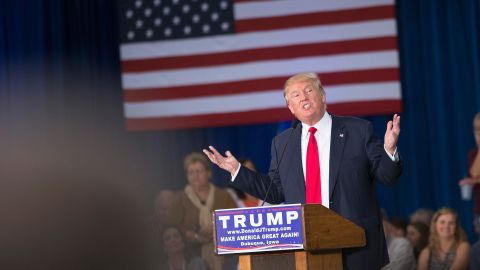 Trump speaks to guests gathered for a campaign event at the Grand River Center in Dubuque, Iowa, on August 25.