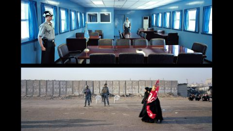 Top: Panmunjom, Demilitarized Zone; Korea, 2009. Bottom: Baghdad, Omar Khattab Street; Iraq, 2012.