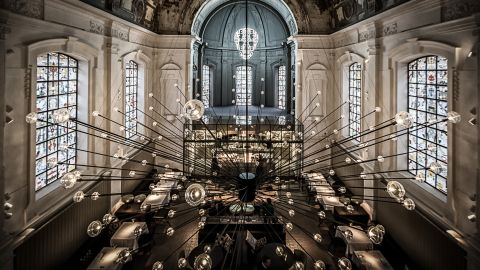 """The Jane took top prize for best restaurant design at this year's <a href=""""http://restaurantandbardesignawards.com/"""" target=""""_blank"""" target=""""_blank"""">Restaurant and Bar Design Awards.  </a><br />This ex-military hospital chapel was transformed into an alluring space by local design practice Piet Boon. It features a statement, spiked chandelier design and all-new stained glass windows by Studio Job<br />"""