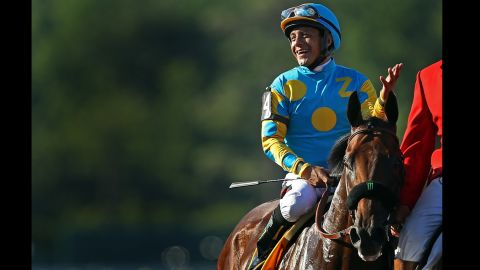 """Jockey Victor Espinoza rode American Pharoah to a Triple Crown victory this year, <a href=""""http://edition.cnn.com/2015/06/06/us/belmont-stakes-american-pharoah/"""">the first Triple Crown winner since 1978. </a>But the jockey couldn't dance his way to victory with a human partner. He was eliminated in week two of the show."""