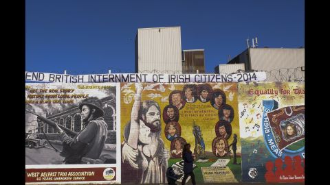One of the Peace Walls in Belfast, Northern Ireland.