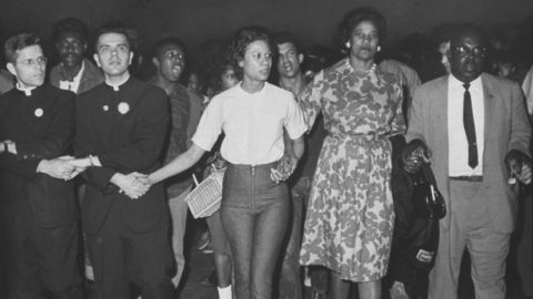 """Civil rights matriarch <a href=""""http://www.cnn.com/2015/08/26/us/civil-rights-matriarch-robinson-dies/index.html"""">Amelia Boynton Robinson</a>, second from right, died on August 26. She suffered a stroke and had been hospitalized in Montgomery, Alabama. She was in her 100s."""