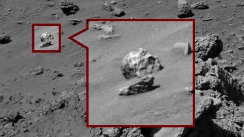 """The Skull: This """"humanoid skull"""" was spotted on Mars last year. Paranormal Crucible says """"it's clearly not a rock."""" Right."""