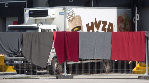 A refrigerated truck, in which bodies of 71 migrants have been found on the A 4 Austrian highway, is parked in a facility which used to be a veterinary station at the border in Nickelsdorf, Austria on August 28, 2015. Austrian police said Friday that three people were in custody in Hungary over the discovery of 71 dead migrants in an abandoned truck with Hungarian number plates.  AFP PHOTO / VLADIMIR SIMICEK        (Photo credit should read Vladimir Simicek/AFP/Getty Images)