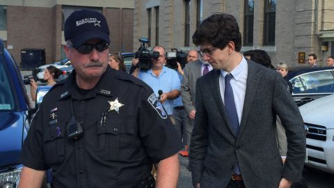 Owen Labrie leaves court on August 28, 2015, after being convicted of five counts.