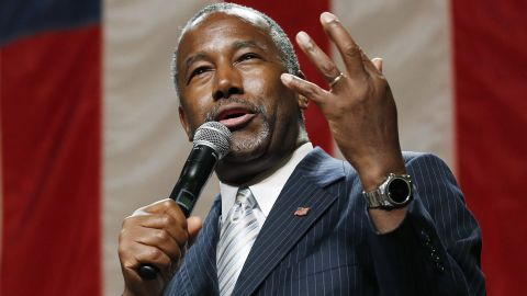 Republican presidential candidate Ben Carson delivers a speech to supporters Tuesday, Aug. 18, 2015, in Phoenix. The state Republican Party said Tuesday evening's rally was moved from a church in Tempe to the convention center because of high demand. (AP Photo/Ross D. Franklin)