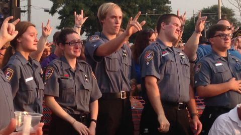 More than 1,000 people attended a vigil for Lt. Joe Gliniewicz in Fox Lake, Illinois, on Wednesday evening, September 2, 2015.